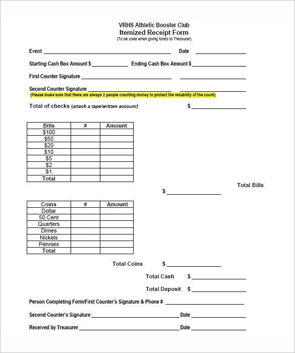 5+ Itemized Receipt Templates -DOC, Excel, PDF Free  Premium