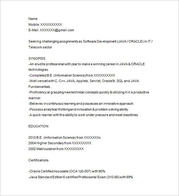 Java Developer Resume Template \u2013 14+ Free Samples, Examples, Format