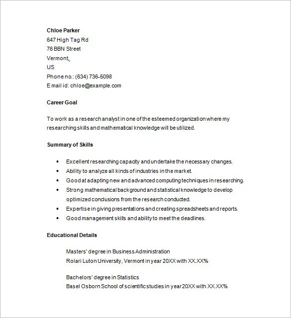 marketing analyst resume samples - Maggilocustdesign