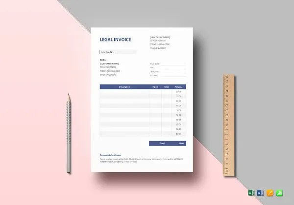 Legal Invoice Templates \u2013 12+ Free Word, Excel, PDF Format Download