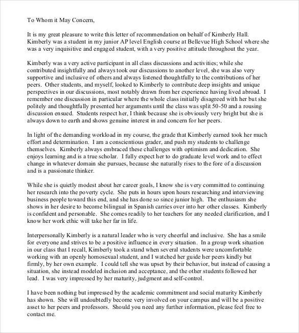 letter of recommendation for student examples