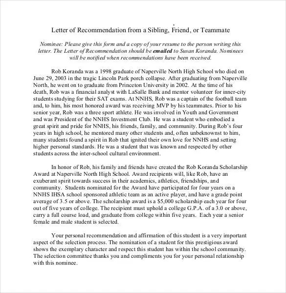 Letter Of Recommendation For College Student From Family Friend - generic letter of recommendation