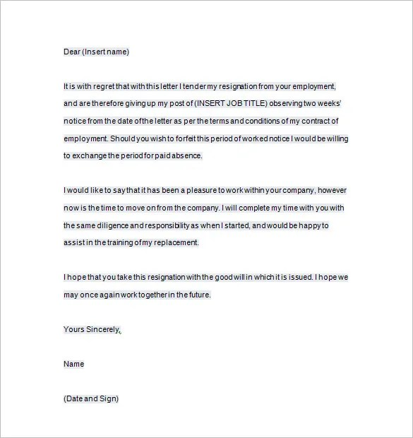 Weeks Notice Letter Two Week Notice Letter Example 9+ Two Weeks - two weeks notice letter
