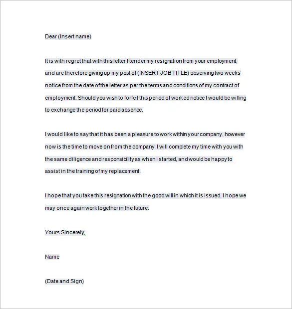 letter of resignation two weeks notice