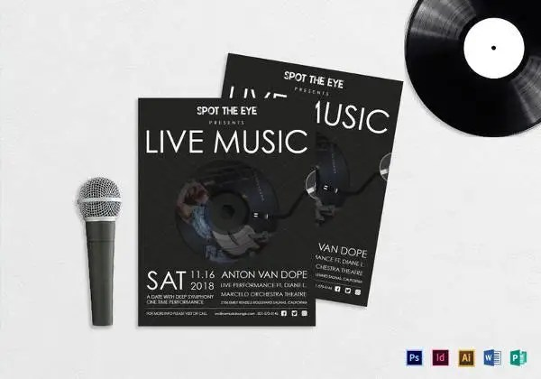 31+ Music Flyer Templates \u2013 Free PSD, EPS, AI, InDesign, Word, PDF - music flyer template