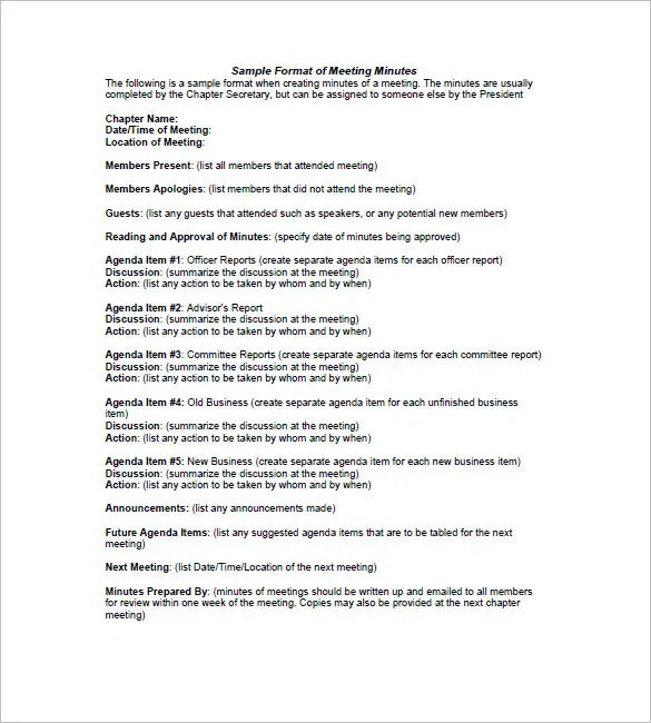 Minutes of Meeting Template - 27+ Free Sample, Example Format