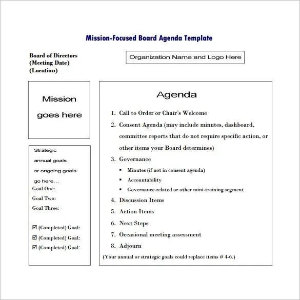 Meeting Outline Template \u2013 10+ Free Sample, Example, Format Download - meeting agenda outline