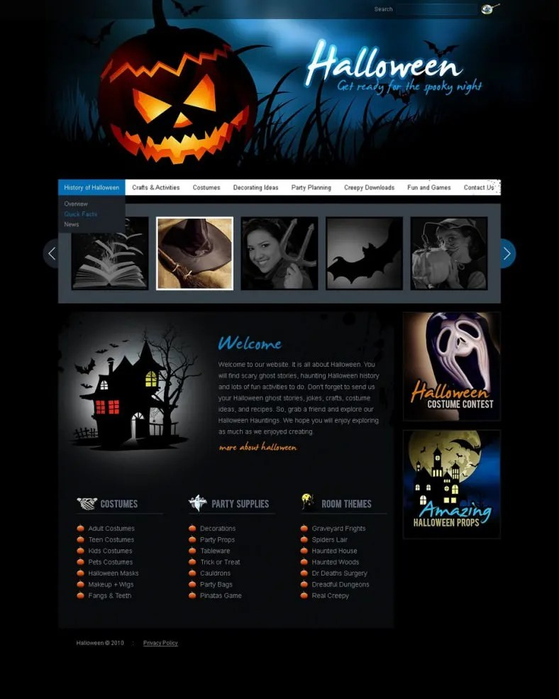5+ Halloween Website Themes  Templates Free  Premium Templates