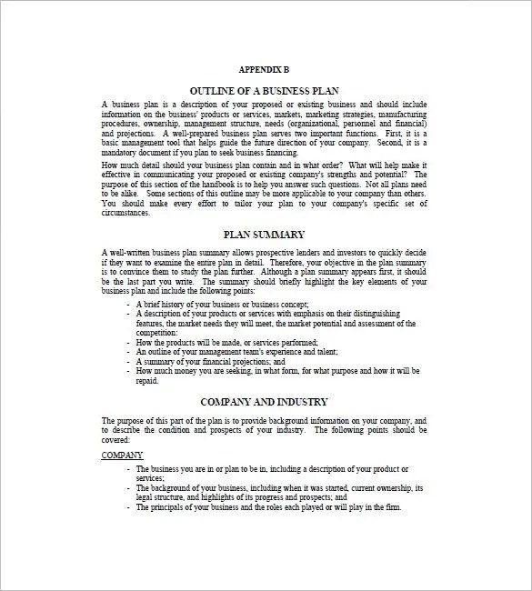 Business Plan Outline Template - 22+ Free Sample, Example, Format