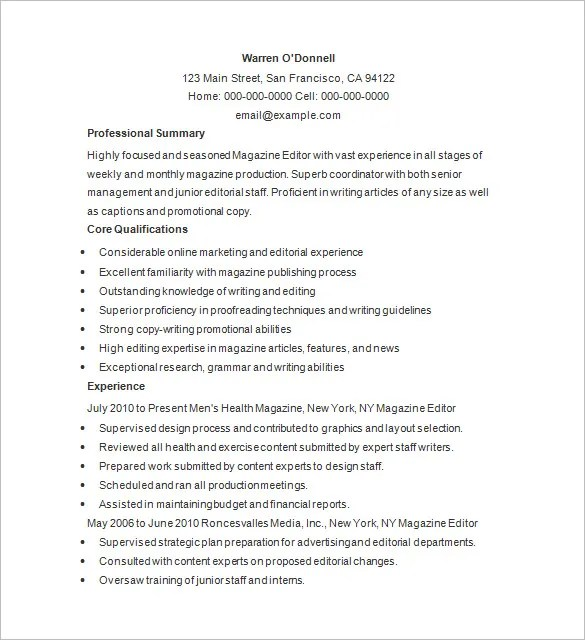 Writer Resume Template \u2013 24+ Free Samples, Examples, Format Download