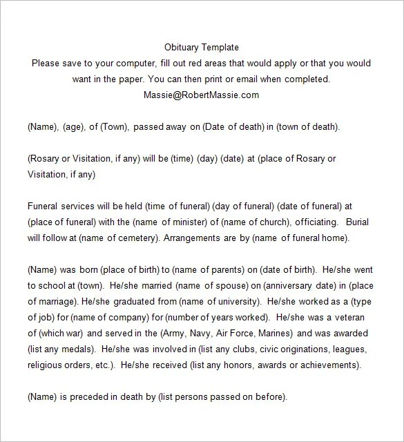 Death Notices u2013 33+ Free Printable Word, Excel, Pdf FormatFuneral - funeral obituary template