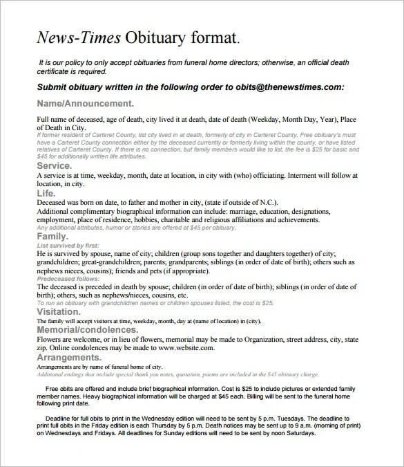 Newspaper Obituary Template \u2013 7 Free Word, PDF Documents Download - Free Obituary Template