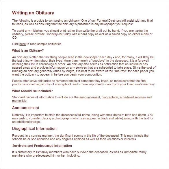 obituary samples - Apmayssconstruction