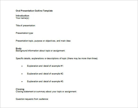 Presentation Outline Template - 24+ Free Sample, Example, Format