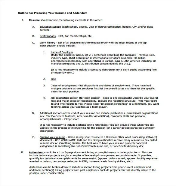 format for preparing cv