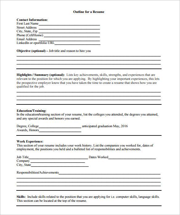 12+ Resume Outline Templates  Samples - DOC, PDF Free  Premium