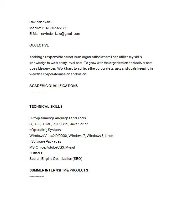 PHP Developer Resume Template \u2013 19+ Free Samples, Examples, Format