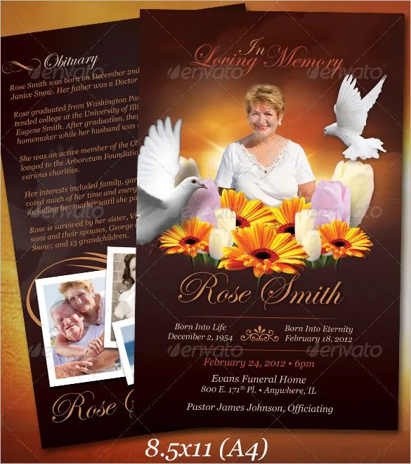 Funeral Obituary Template - 22+ Free Word, Excel, PDF, PSD Format - free funeral programs downloads