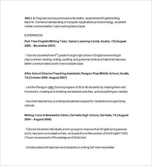 Tutor Resume Template \u2013 13+ Free Samples, Examples, Format Download