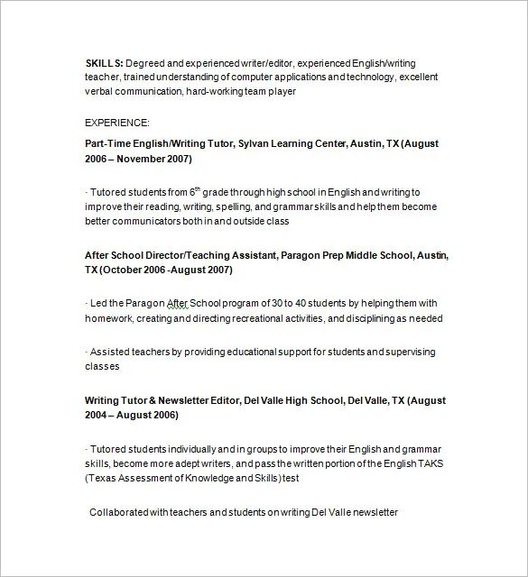 private english tutor resume sample