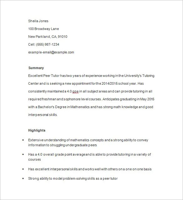 Tutor Resume Template \u2013 13+ Free Samples, Examples, Format Download - math tutor resume sample