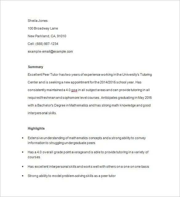 resume example for math tutor