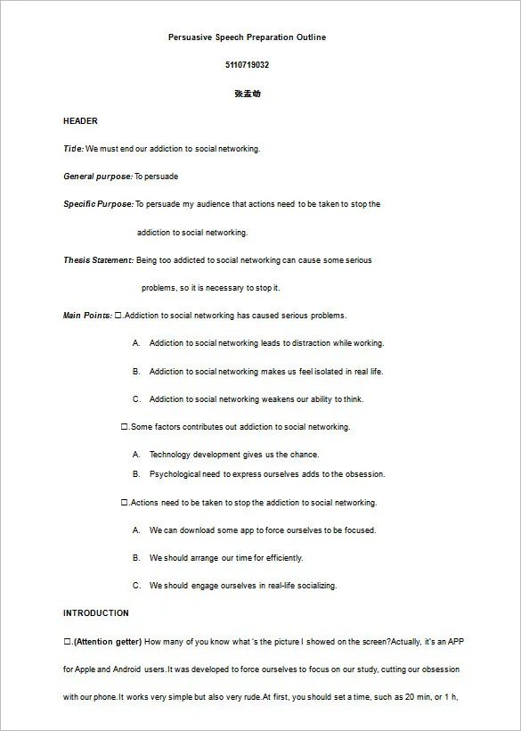 Speech Preparation Outline Template – Presentation Outline Templates