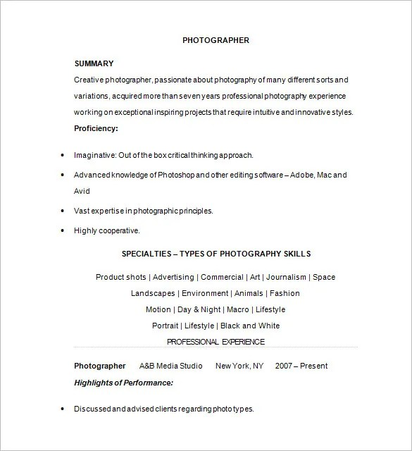 Photographer Resume Template \u2013 17+ Free Samples, Examples, Format - Photographer Resume Samples