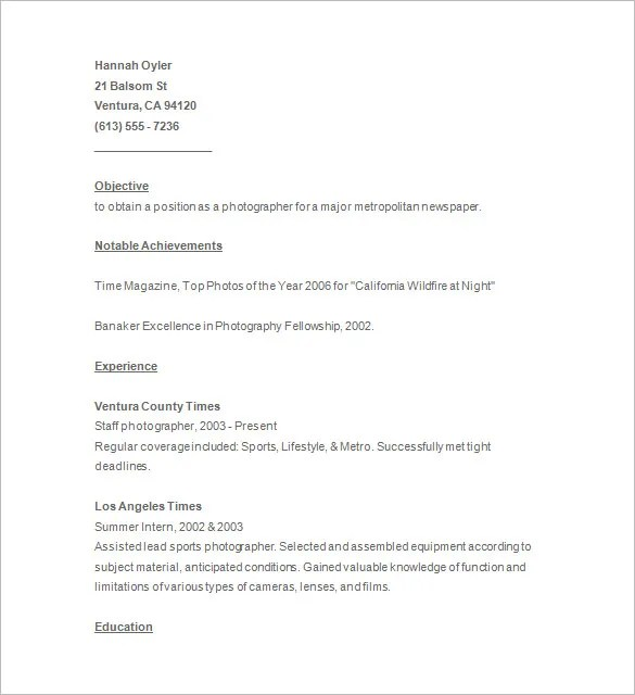 Photographer Resume Template \u2013 17+ Free Samples, Examples, Format - sample photographer resume