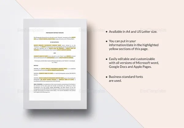 Contract Template \u2013 23+ Free Word, Excel, PDF Documents Download