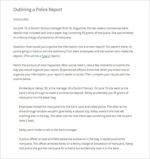 police report template download