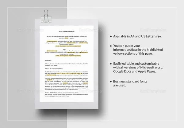 Equipment Bill of Sale - 6+ Free Word, Excel, PDF Format Download