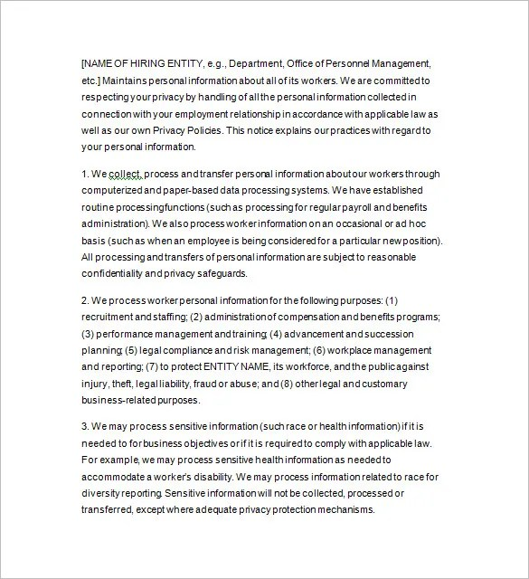 Privacy Notice Template Privacy Policy Of Do Privacy Policy