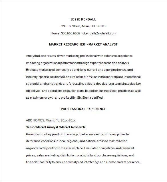 Marketing Analyst Resume Template \u2013 16+ Free Samples, Examples