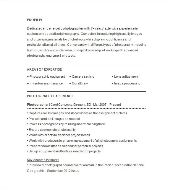 Photographer Resume Template \u2013 17+ Free Samples, Examples, Format - photography resume samples