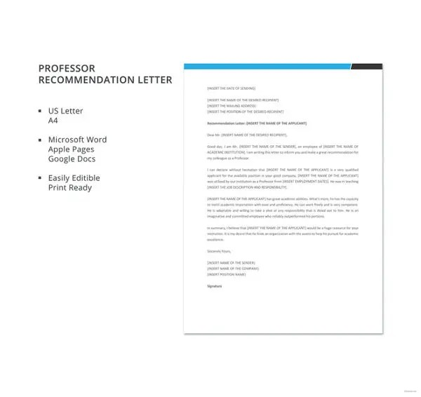 Letter of Recommendation for Teacher \u2013 12+ Free Word, Excel, PDF - recommendation letter from professor