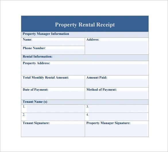 Rental Receipt Template - 27+ Free Sample, Example, Format Download
