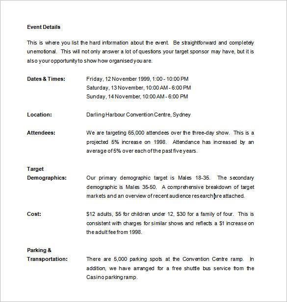 sponsor proposal exle - 28 images - sponsorship proposal template 11 - example of sponsorship proposal