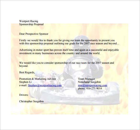 Sponsorship Proposal Template - 16+ Free Word, Excel, PDF Format - free racing sponsorship proposal template