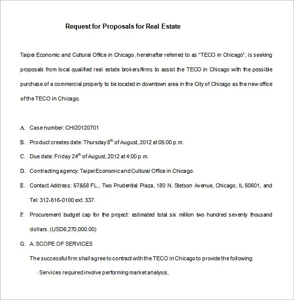 Product Proposal Template Business Proposal Letter For A New - real estate proposal template