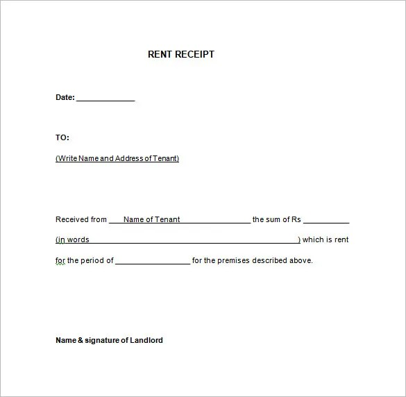 Rent Receipt Template - 13+ Free Word, Excel, PDF Format Download - rent receipt form