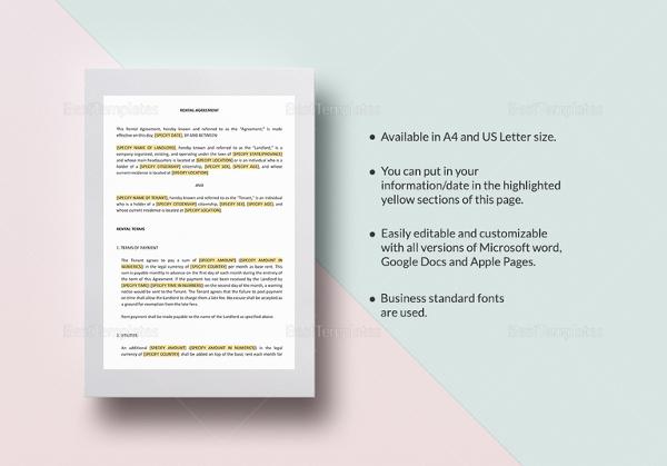 Rental Agreement Template \u2013 25+ Free Word, Excel, PDF Documents - editable rental agreement