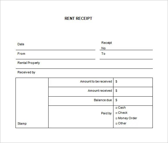 Rental Receipt Template - 27+ Free Sample, Example, Format Download - apartment rent receipt