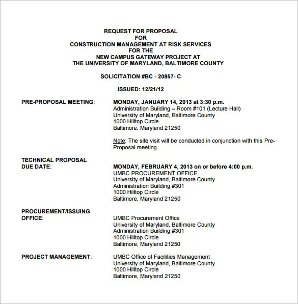 Construction Proposal Templates \u2013 15+ Free Sample, Example, Format - request for proposal example