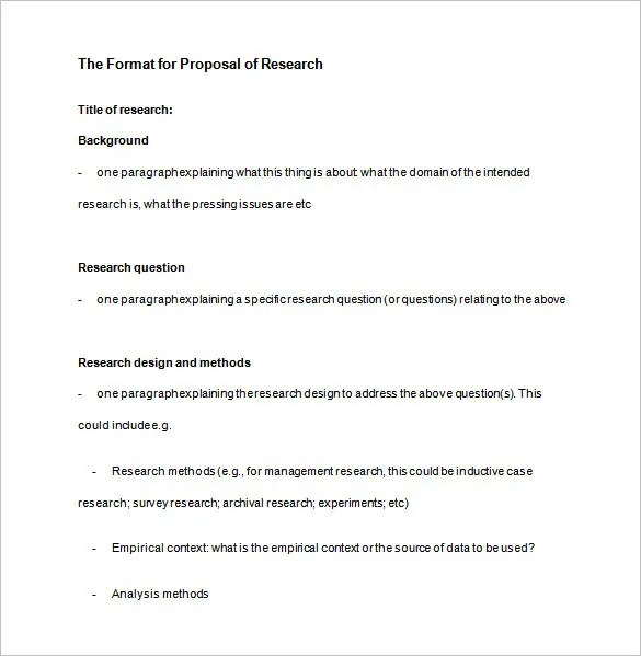 Research Proposal Sample – Research Plan Template