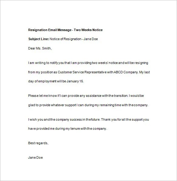 15+ Two Weeks Notice Templates - Google Docs, MS Word, Apple Pages