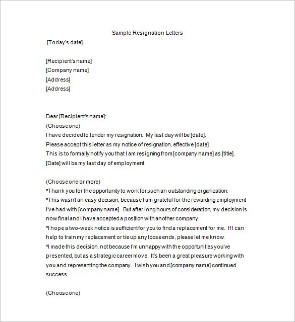 Resignation Notice Template - 12+ Free Word, Excel, PDF, Format - notice form in word