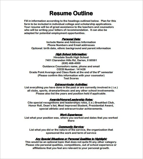 Resume Outline Template \u2013 13+ Free Sample, Example, Format Download - outline for resume