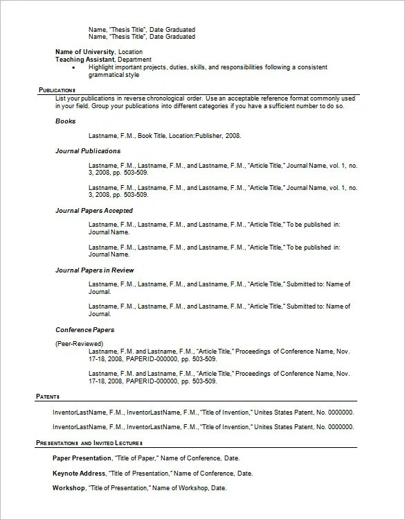 Resume Outline Template \u2013 13+ Free Sample, Example, Format Download