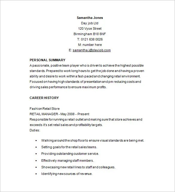 Retail Resume Template \u2013 10+ Free Samples, Examples, Format Download - retail resume example